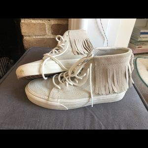 Vans off the wall gray fringe sneakers